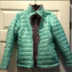 Girls North Face reversible puffer jacket